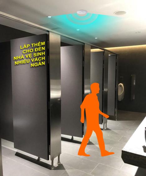 Công tắc cảm ứng vi sóng dùng cho các nhà vệ sinh nhiều vách ngăn