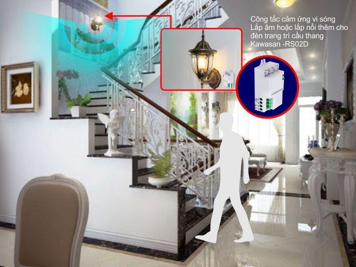 Công tắc cảm biến Kawasan thường lắp âm hoặc nổi cho các vị trí cầu thang, hành lang