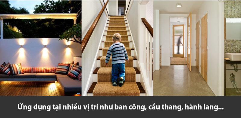 Ứng dụng nhiều vị trí như ban công, cầu thang, hành lang