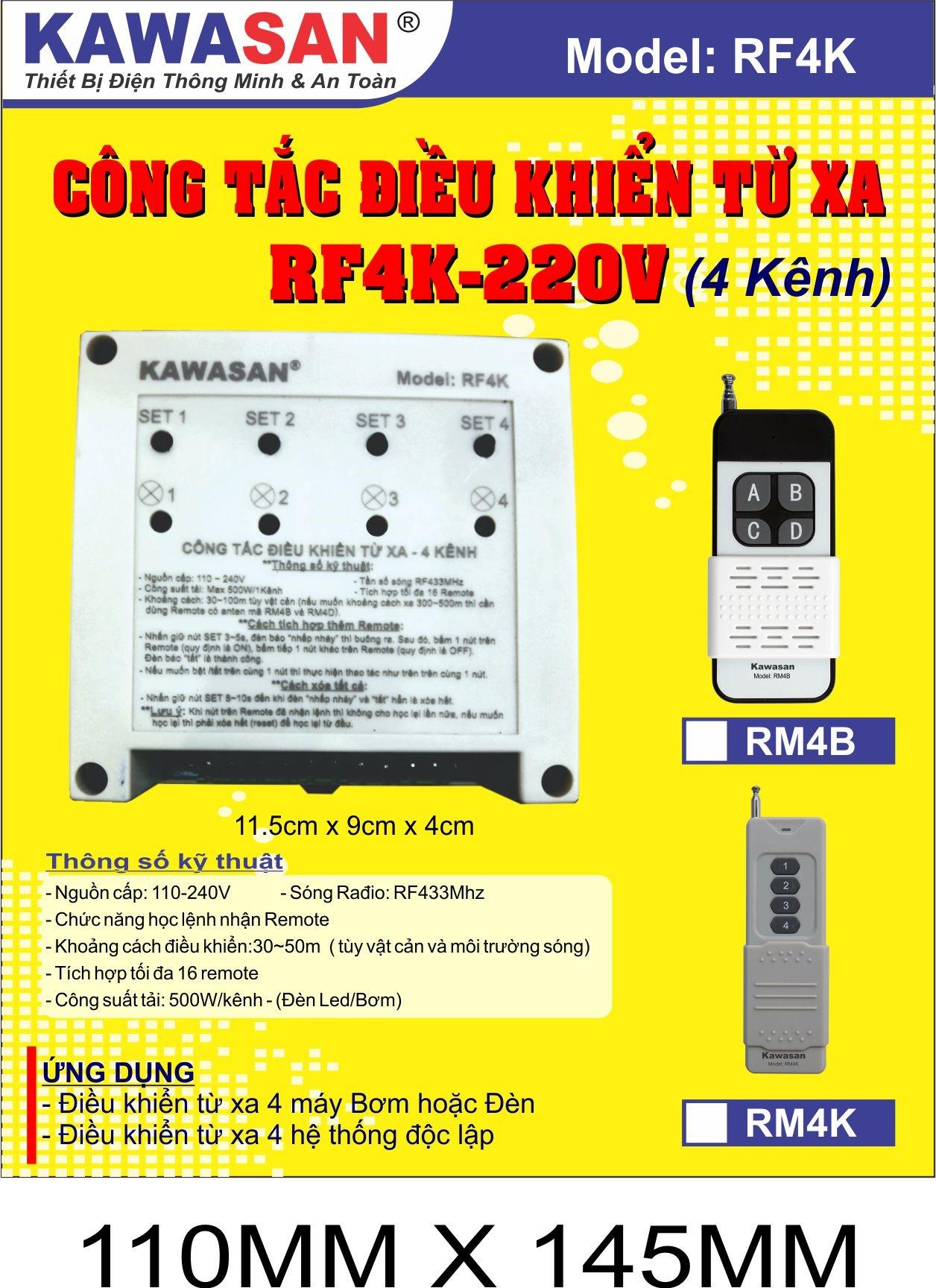 Điều khiển từ xa đa nhiệm RF4K-220V