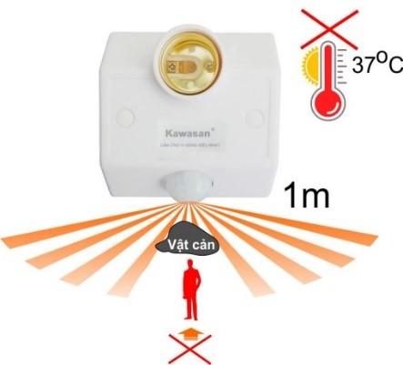 Đui đèn cảm ứng hồng ngoại bị ảnh hưởng bởi nhiệt độ và vật cản